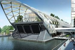 Строение станции железной дороги с садом на крыше