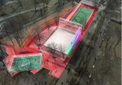 Новое здание спортивного центра, из стекла и зеркальных плоскостей