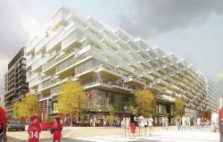 Новое здание с балконами-стадионами